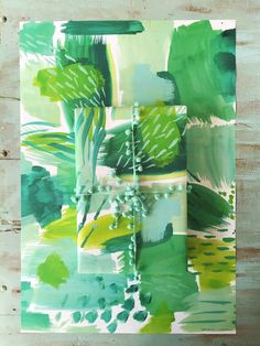 Summer Greens Abstract Gift Wrap by ErikaFirm on Etsy