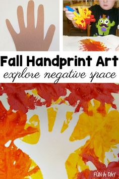 A fall handprint art project that uses negative space! It's perfect for toddlers, preschool, and even kindergarten kids. Your children will love this autumn art project! Preschool Art Projects, Preschool Art Activities, Fall Art Projects, Fall Preschool, Space Activities, Preschool Classroom, Toddler Activities, Classroom Ideas, Fall Arts And Crafts