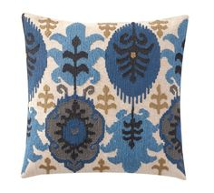 Leigh Ikat Embroidered Pillow Cover, 20