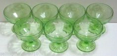 "Hocking ""Cameo"" Ballerina Low Sherbet Lot of 7 – Classic Green 