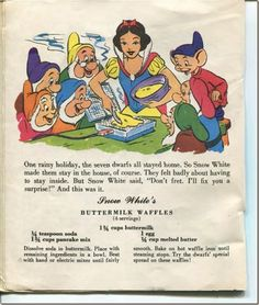 Snow White's Buttermilk waffles #vintage #Disney