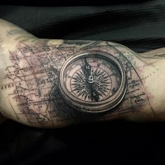 Inner arm #compass and #map I added to a sleeve #wip today at #renaissancestudios done using my #fkirons ...
