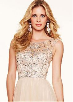 Buy discount Fantastic Tulle Scoop Neckline A-line Prom Dresses With Beadings at Dressilyme.com