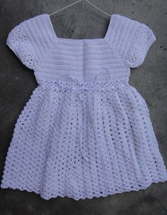 Crochet Baby Girl Dress Gown for Christening/ Baptism/birthday 6-12 months  Adorable little baby dress in pure white color made with acrylic