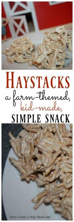 These adorable haystacks are the perfect farm themed snack for kids! Perfect for an activity with the book 'Little Blue Truck'. farm animals Haystacks Snack for Kids: Farm Themed and Kid Made Farm Animals Preschool, Farm Animal Crafts, Preschool Snacks, Preschool Farm Crafts, Preschool Prep, Preschool Projects, Daycare Crafts, Preschool Themes, Preschool Classroom