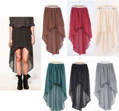 Sexy Asymmetric Long Maxi Skirt Elastic Waist Band Chiffon Dance Dress 6 Color