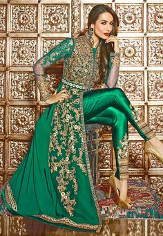 Embroidered Georgette Jacket Style Abaya Suit in Teal Green Pakistani Suits, Pakistani Dresses, Indian Dresses, Indian Outfits, Bridal Anarkali Suits, Abaya Fashion, Fashion Pants, Indian Fashion, Fashion Dresses