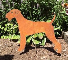 Airedale Terrier Gartenpfahl oder Wandkunst Pet Dog Memorial Gartenkunst Outdoor-Dekor Rasen Ornament