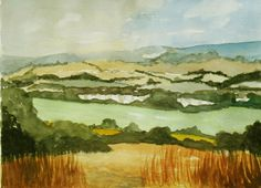 North Downs View Original Watercolor Landscape Painting