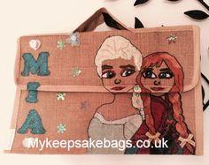 Frozen school book bags. Handmade Personalised Jute Bags, Book Bags, Burlap, Frozen, Reusable Tote Bags, School, Handmade, Backpacks, Hand Made