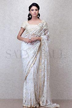 White Wedding Ivory French Lace Saree A Satya Paul
