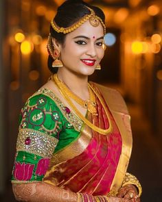 Latest maggam work bridal blouse designs 2019 - New Blouse Designs Saree Look, Red Saree, Sari, Saree Blouse, New Blouse Designs, Bridal Blouse Designs, Men's Fashion, Fashion Week, Indian Fashion