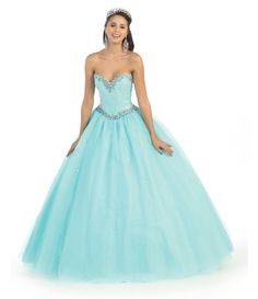 This beautiful quinceanera prom floor length dress comes with beaded sequins corset mix with rhinestones on bust and waist area and mesh skirt, bolero included