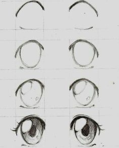 Learn To Draw Manga - Drawing On Demand - Anime / manga eyes step by step – # animemanga - Pencil Art Drawings, Art Drawings Sketches, Drawing Faces, Easy Drawings, Art Sketches, Anime Eyes Drawing, Cute Eyes Drawing, Manga Girl Drawing, Animae Drawings