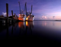 The docks at night.