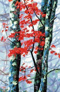grafico de punto de cruz en pdf para imprimir y bordar arboles con hojas rojas de otoño
