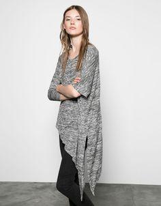 Bershka long asymmetric V-neck jumper - Sweaters & Cardigans - Bershka Serbia