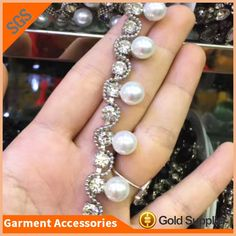 8a9f3e4fc Hot Sale Pearl And Crystal Stone Chain Trimming For Bag Shoes Accessories