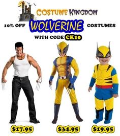 #Costumes 2013 3.99 and up Halloween Costumes  http://www.planetgoldilocks.com/halloween/costumes.html  Free Shipping on any order of 50 or more through July 31st  Save 10% off all #Wolverine costumes by entering promo #coupon CK10 at checkout through July 31st  #halloween  #shopping