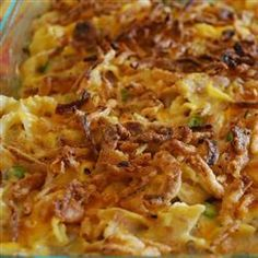 Tuna Casserole ~ 1 ounce) package egg noodles cup chopped onion 2 cups shredded Cheddar cheese 1 cup frozen green peas 2 ounce) cans tuna, drained 2 ounce) cans condensed cream of mushroom soup ounce) can sliced mushrooms 1 cup crushed potato chips Best Tuna Casserole, Tuna Casserole Recipes, Tater Tot Casserole, Casserole Dishes, Noodle Casserole, Chicken Casserole, Fish Recipes, Seafood Recipes, Great Recipes