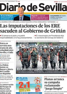 Los Titulares y Portadas de Noticias Destacadas Españolas del 4 de Julio de 2013 del Diario de Sevilla ¿Que le parecio esta Portada de este Diario Español?