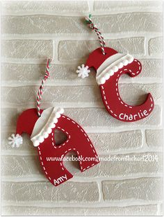 Santa Hat Initial Letter Personalised Christmas Tree Baubles Informations About Closed For Christmas Handmade Christmas Crafts, Christmas Ornament Crafts, Christmas Crafts For Kids, Christmas Projects, Holiday Crafts, Christmas Holidays, Christmas Decorations, Christmas 2019, Letter Ornaments