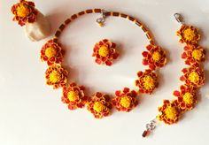 Marigold set floral jewelry flower set polymer clay jewelry gift for her bright set autumn flower autumn jewelry fall jewelry floral set