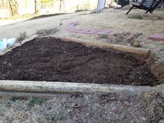 Spring 2014 Dug out the grass, leveled the spot some, then added topsoil and potting soil mixture.