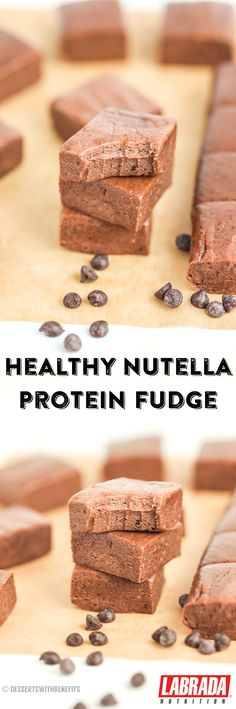 50-calorie Nutella Protein Fudge! Super sweet, dense, rich and fudgy without the excess sugar, corn syrup and butter. So addicting, you'd never know they're guilt-free!  This recipe is super easy too -- no cooking required, and it's only 6 ingredients. [low sugar, high protein, gluten free] @JamieEason