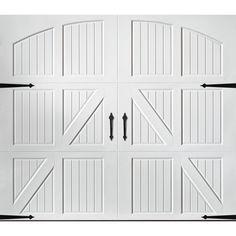 Pella Carriage House Series X White Single Garage Door 123509 Cheap Garage Doors, White Garage Doors, Single Garage Door, Garage Door Styles, Garage Door Design, Garage Art, Pella Doors, Door Stays, Carriage Doors