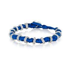 Knots + Bolts Wrap Bracelet  Blue satin cord hand-knotted with black diamond Czech crystal rondelle stations.