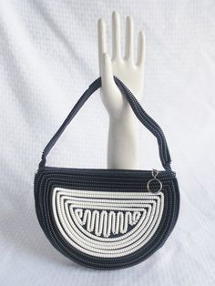 1940's Vintage Telephone Cord Purse Blue and White