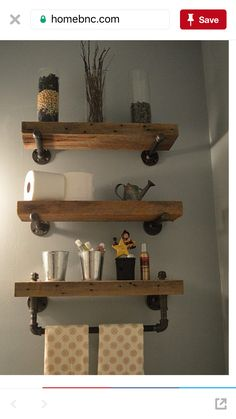 Reclaimed Barn Wood Bathroom Shelves Thanks for looking at this creation! Reclaimed barn wood bathroom shelves made out of salvaged lumber from a Saline Michigan Barn Wood Bathroom, Bathroom Wood Shelves, Rustic Bathroom Decor, Bathroom Ideas, Rustic Decor, Bathroom Remodeling, Bathroom Plans, Bathroom Makeovers, Pallet Bathroom