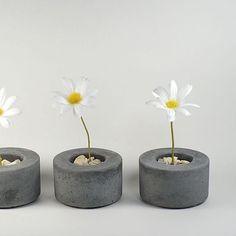 Mini Round Concrete Pot - set of 3