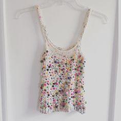 Media Paige Parkin ( )This beaded tank makes me feel happy 🌈☀️ inspiration : Mode Crochet, Knit Crochet, Crochet Fashion, Facon, Crop Tops, Tank Tops, Pulls, Skirts, Inspiration