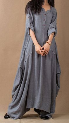 Discover thousands of images about Baggy Muslim Abaya Linen Dress Loose Fit Dress Plus Size Maxi Dress V Neck Long Sleeves Hijab Fashion, Boho Fashion, Fashion Dresses, Womens Fashion, Fashion Design, Women's Dresses, Linen Dresses, Dress Skirt, Dress Up