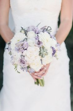 lavender and white bouquet dotted with succulents Photography: Heather Elizabeth Photography - heatherelizabethphotography.com  Read More: http://www.stylemepretty.com/2014/06/24/a-sweet-lavender-infused-wedding-at-a-private-healdsburg-estate/