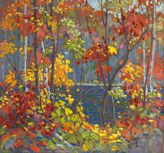 Quality print by Group Of Seven artist Tom Thomson - The Pool; Available framed, print, giclee canvas. Made In Canada. Tom Thomson, Hanging Canvas, Canvas Wall Art, Group Of Seven Art, Canada Landscape, Karla Gerard, Emily Carr, Eagle Art, Needlepoint Patterns