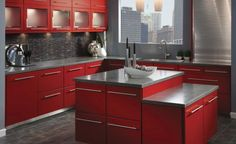 """What's the One Word That Makes Your Kitchen """"Modern""""?: Bright-Red Cherry Slab Cabinets For Ultra-Modern Kitchen"""