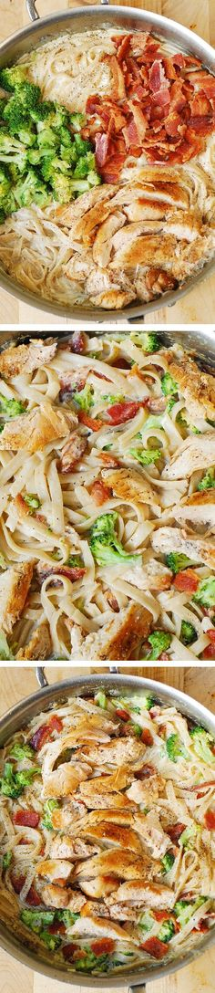 Creamy Broccoli, Chicken Breast, and Bacon Fettuccine Pasta in homemade Alfredo sauce. Easy, delicious pasta dinner!