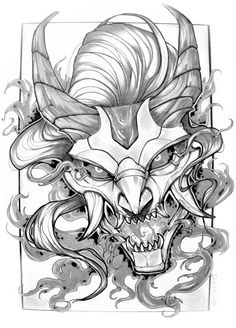 48216316 blue and gray oni mask digital wallpaper Chun Lo Japanese Drawings, Japanese Tattoo Art, Japanese Tattoo Designs, Japanese Art, Tattoo Sketches, Tattoo Drawings, Art Sketches, Anime Tattoos, Body Art Tattoos