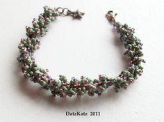 DatzKatz Fluffy Katzerpillar Bracelet . moss . green . by DatzKatz, $20.00