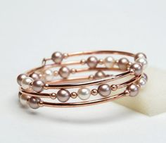 Rose Gold and Pearl Memory Wire Bracelet with Swarovski Crystal Pearls in Cream Rose Almond and Rose Gold - Fall Bridal Jewelry