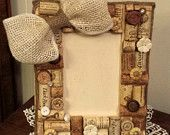 Natural upcycled wine cork 4x6 picture frame with burlap bow and buttons