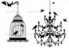 Birdcage And Chandelier | Vectors | Objects | Man-made objects ...