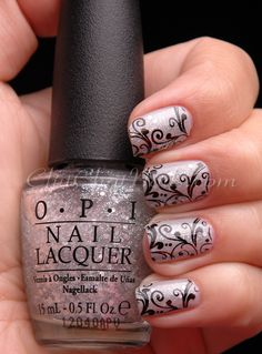 China Glaze Pelican Gray  OPI Piroutte My Whistle  Cult Nails Nevermore  Stamped with BM-314