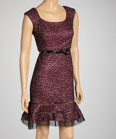 Take a look at this Fuchsia Tweed Belted Dress - Women & Petite by R Richards on #zulily today!