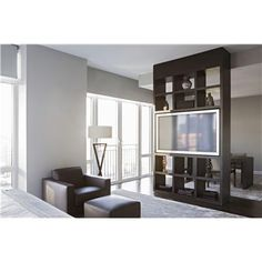 Modern Custom Made Room Divider. Wooden Oak Frame And Fixed Shelves. Built  In TV With Concealed Wiring. : High End Custom Made Built In Shelve From  Aguirre ... Part 66