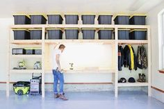 DIY Garage Shelves — Modern Builds : The Ultimate Garage Storage / Workbench Solution. By: Mike Montgomery Garage Wall Storage, Garage Organization Tips, Garage Storage Solutions, Diy Garage Shelves, Diy Garage Work Bench, Building Garage Shelves, Workbench Organization, Garage Storage Cabinets, Storage Hacks