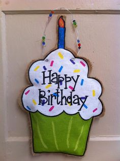 Happy Birthday cupcake burlap door hanger.